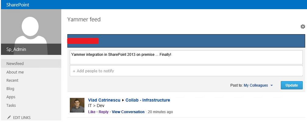 How to get the Yammer Newsfeed on your team site