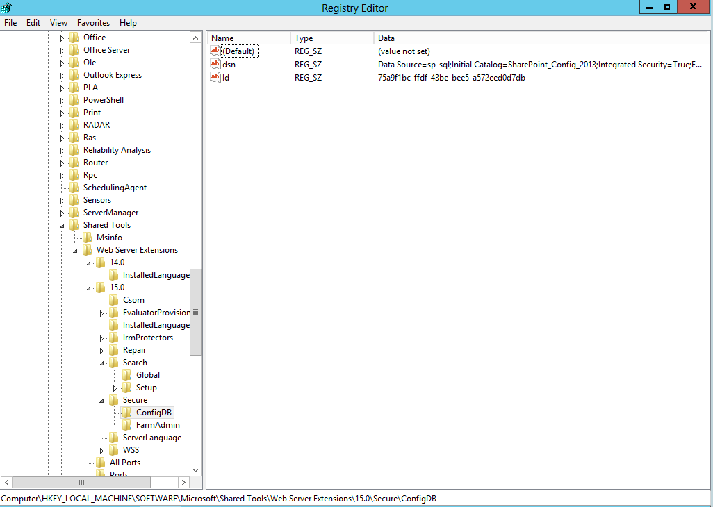 SharePoint Server config database connection string by Vlad