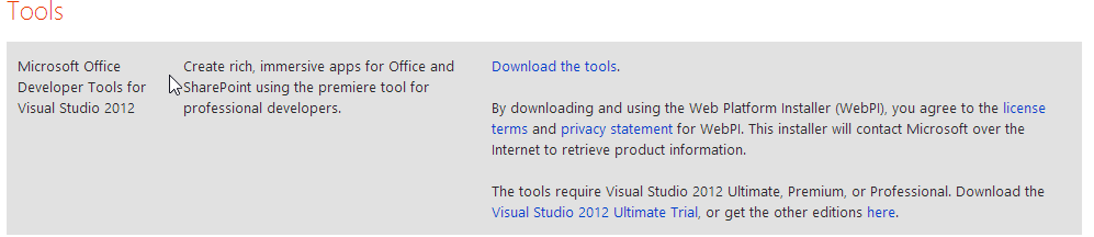 Offline install of Office Developer Tools