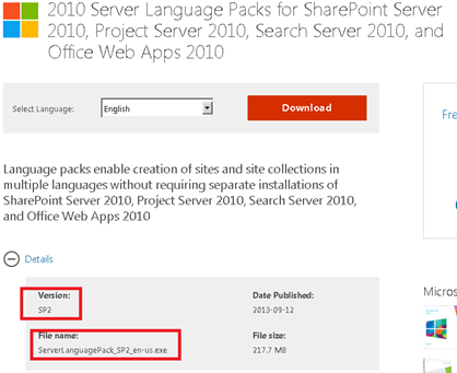 SharePoint 2010 RTM Language Packs