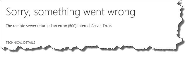 The remote server returned an error: (500) Internal Server Error