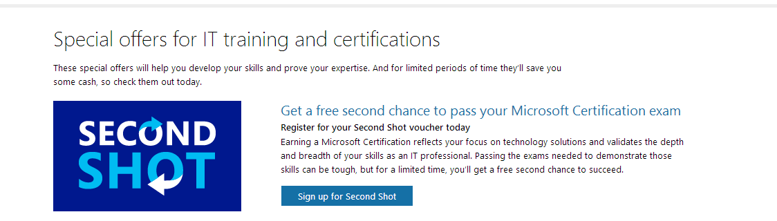 Microsoft Exam Second Shot is back