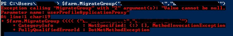 Value cannot be null. Parameter name: userProfileApplicationProxy Fix