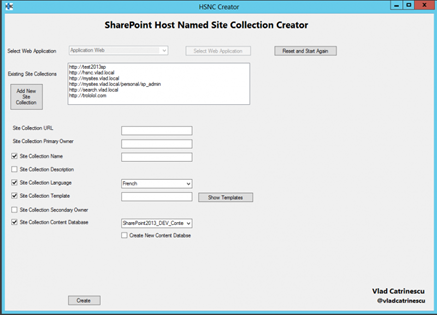 Host Named Site Collection Creator
