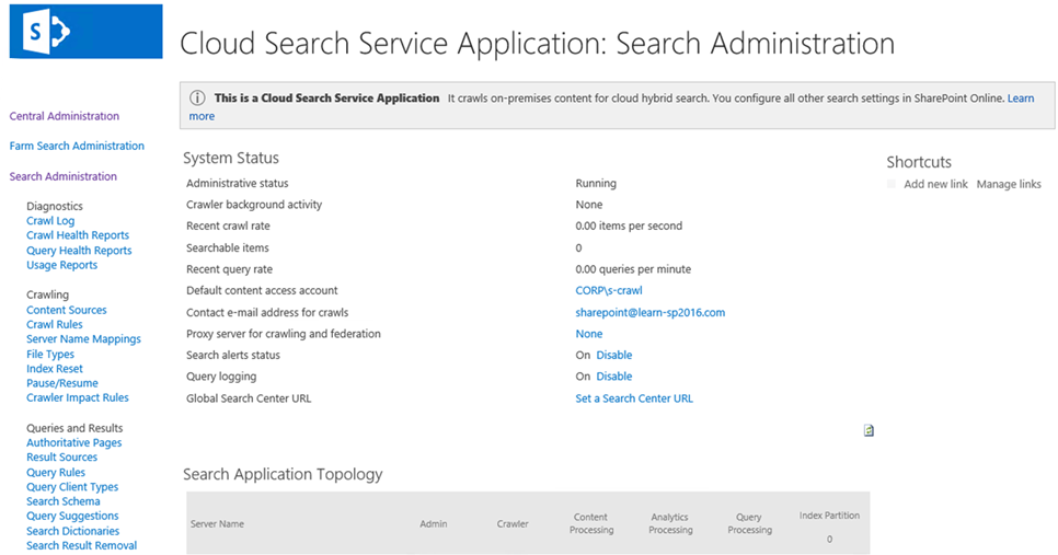 Cloud Search Service Application On-Premises