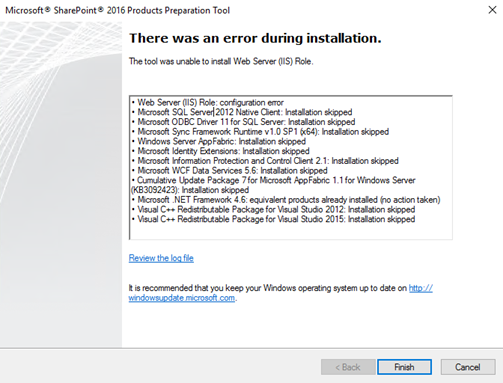 The tool was unable to install Web Server (IIS) Role
