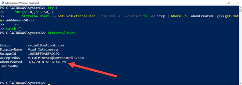 Create a report of SharePoint Online External Users with PowerShell