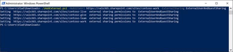 External Sharing Settings Across a Hub Site